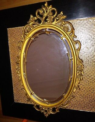 "Vintage Brass Gold Oval Metal Frame Wall Mirror 29"" x 18"" ornate Hollywood Regec"