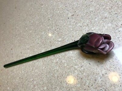 Purple Glass  Rose Flower With Stem