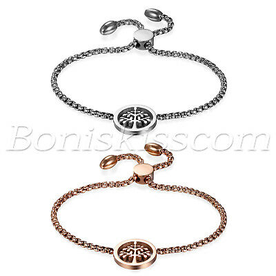 Women's Charm Stainless Steel Tree of Life Freely Adjustable Bracelet Chain Link