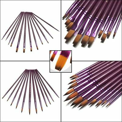 12 Paint Brush Set for Oil Watercolor Acrylic Artist Painting Art Craft Hot TU