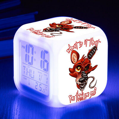 Five Nights at Freddy's 7 Color LED Night Light Alarm Clock Figures Watch