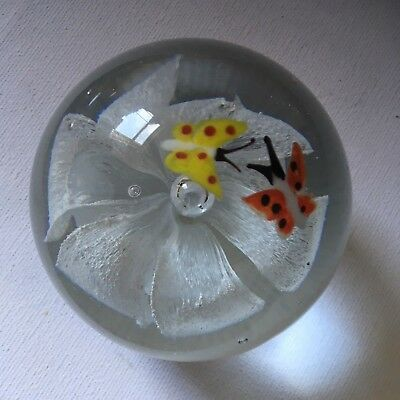 Murano Style Clear Hand Blown Glass Paperweight with Butterflies