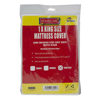 Kingsize Mattress Cover Soft Vinyl Plastic Fitted Bed Sheet Protector Protect