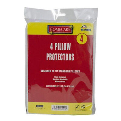 4x Pillow Protectors Cover Dust Mite Proof Anti Allergy Stain Resistant Washable