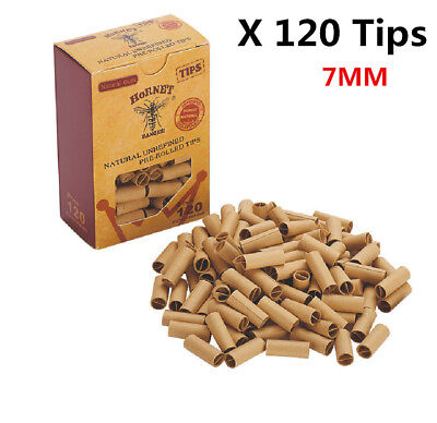 120x HORNET PRE ROLLED Natural UnRefined Cigarette Filter Rolling Paper Tips 7MM