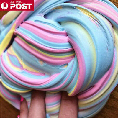Colorful Fluffy Strechy Slimes Rainbow Unicorn Floam Slime Stress Relief Toy DM