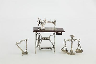 3x .925/.800 SILVER MINIATURES inc Sewing Machine, Scales, Harp 142g