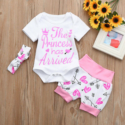 3Pcs Lovely Newborn Baby Girls Arrow Print Romper Jumpsuit Shorts Outfits Set