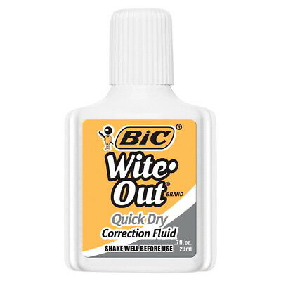 BIC Wite-Out Quick Dry Correction Fluid with Foam Applicator, 20 ml Bottle,