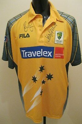 Signed Fila Australian One Day Cricket Shirt signed by Gilchrist & Lee XL