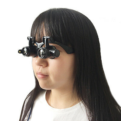 10X 25X Optivisor Head Watch Repair Glasses Magnifier with LED Magnifying Glass