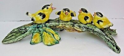"Stangl Pottery 4 Goldfinch Birds on Branch-Mother & 3 Babies-12"" long-stamped MF"