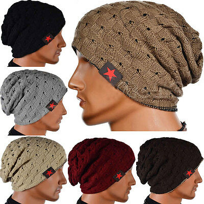 Mens Womens Slouch Skull Cap Oversize Wool Warm Beanie Baggy Cap Knitted Hat AU