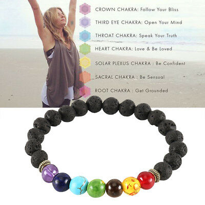 7 Chakra Christal Stones Bracelet. Healing Beads Jewellery Natural Reiki gift AT