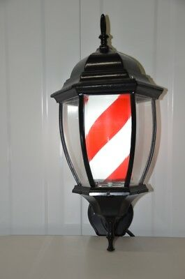 Vintage Lantern  Barber Pole Stripes Classic  Design Barbers Shop Sign Rotating