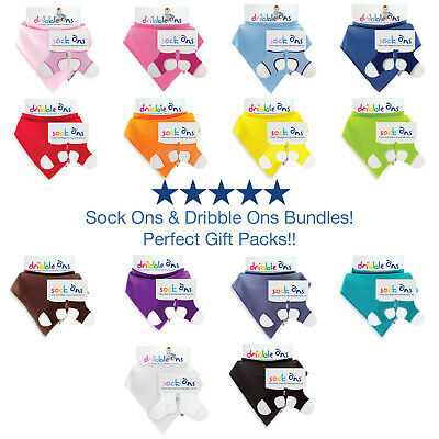 Baby Sock Ons 6-12 Months Sock Keepers & Dribble Ons Bandana Bib Set -Value Pack