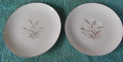 """Vintage Fine China Of Japan """"gemini Wheat"""" Pattern Dessert Plate And Saucer"""