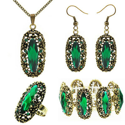 Bronze Green Vintage Style Queen Design Set Earrings Necklace Ring Bracelet