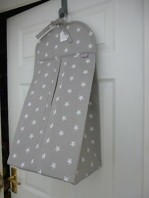 Baby Nappy Stacker Grey/White 'All Star' Cotton - Nursery Shower Gift BRAND NEW