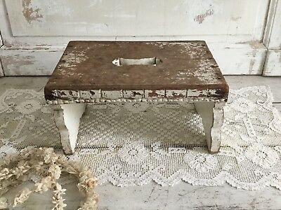 Antique Shabby Chic Chippy White Painted Stool
