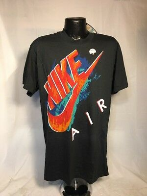 b5e94be901aa41 Vintage 90s Nike Air Logo Grey Tag Deadstock Black T-shirt NEW with Tags  Size