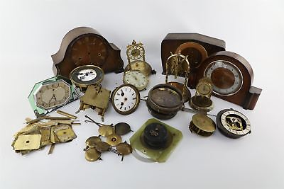 Job Lot Asst Vintage Clock Cases, Spare Parts inc Pendulum, Movements - Spares