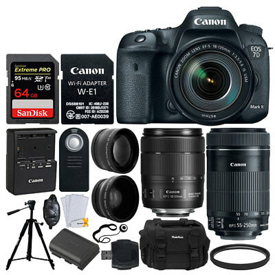 Canon EOS 7D Mark II SLR Camera + 18-135mm & 55-250mm Lens + Adapter + More Acc