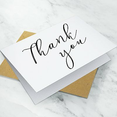 10 x Folded Wedding Thank You Cards ~ Notes Pack + Envelopes
