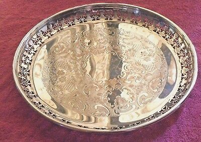 Vintage Primrose Plate Silver Plated Ep On Copper Round Tray