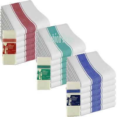 Kitchen Tea Towels Commercial White Towel Soft 100% Cotton Red Blue Green Lined
