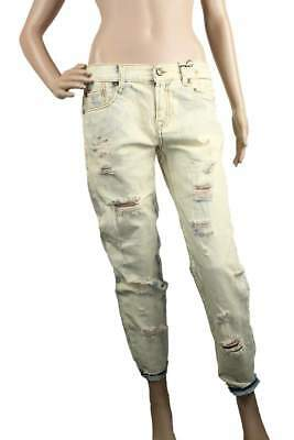 aa2506dd5f9f0e R13 Womens Jeans Relaxed Skinny Selvedge Shredded Made In Italy 28 New