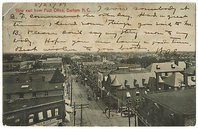 AK US USA Post Card View east from Post Office DURHAM gelaufen 1907