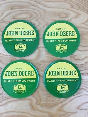 "Nice Metal John Deere Coasters Set of 4 With Cork Bases ""Quality Farm Equipment"""