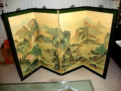 Antique Japanese Chinese Hand Painted Screen,Silk,Black Lacquer,Fireplace Screen