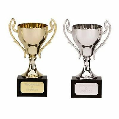 Engraved Trophy Cup - Cast Metal Trophies Any Sport, School Award - 2 sizes