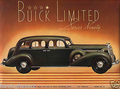 1936 Buick Showroom Wall Limited 90 Interior Illustration  8 x 10 Giclee Print
