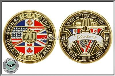 D-Day Landings 70th Anniversary Commemorative Gold Plated Coin WW2 Collectable