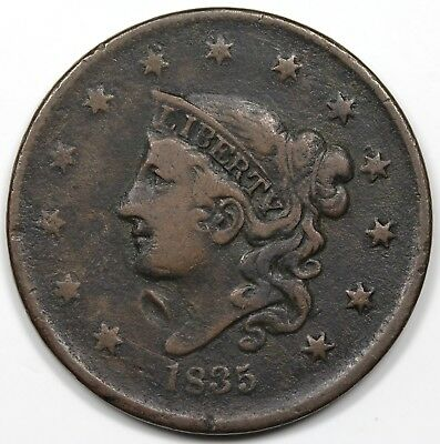 1835 Coronet Head Large Cent, Head of 1836, VF detail