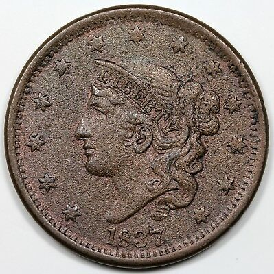 1837 Coronet Head Large Cent, Head of '38, XF detail