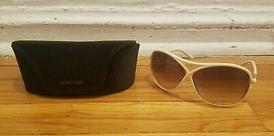 Authentic Tom Ford Vicky TF184 25G 65-10-125 2-4/11 Ivory Sunglasses w/ Case
