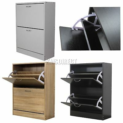 WestWood Wooden Shoe Storage Cabinet 2 Drawer Footwear Stand Rack Unit Cupboard