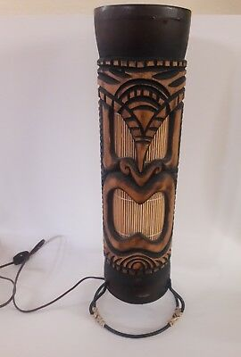 Lamps lighting hawaiian cultures ethnicities collectibles tiki hawaiian wooden table lamp light 18 inches tall mozeypictures Images