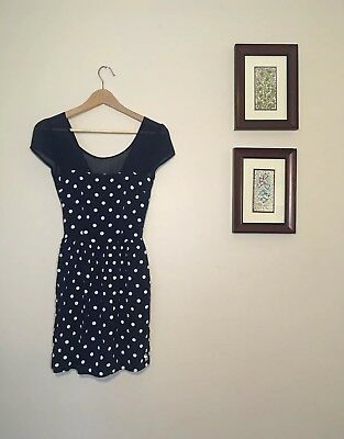 db10346525 Abercrombie   Fitch A F Blue Polka Dot Mini Dress Small S Open Back White  Navy