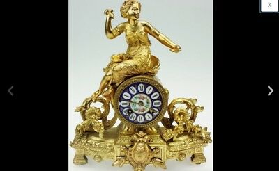 Antique 19thc French Gilt Metal Ormulu & Blue Sevres Porcelain 8Day Mantel Clock