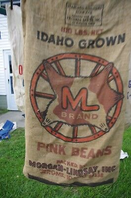 Vintage burlap Morgan-Lindsay Jerome Idaho Pink Beans ML farm sack