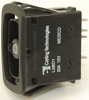 Rocker Switch: Carling Tech L28D1HHH1 Double Pole Mom On - Off - Mom On
