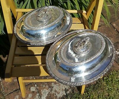 Antique silver plate on copper 19th C matched pair entree dishes Bishops Mitre