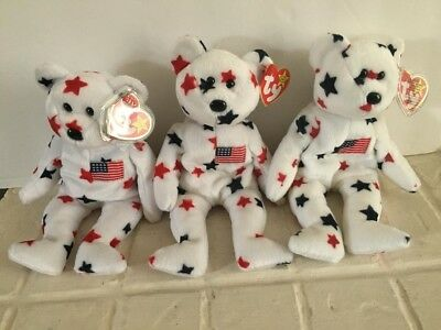 Ty Beanie Baby Babies Glory Set America July 4th Stars and Stripes Patriotic aa6c2330804e