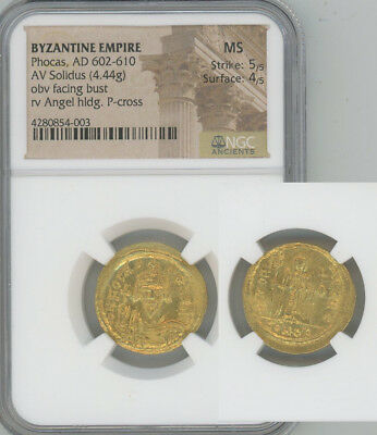 ANCIENT BYZANTINE EMPIRE gold solidus Phocas NGC MINT STATE