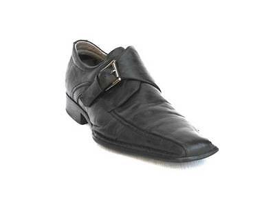 91626c0b6be Steve Madden Men Black Leather Loafers Slip Ons Solid Shoes Size 11-M